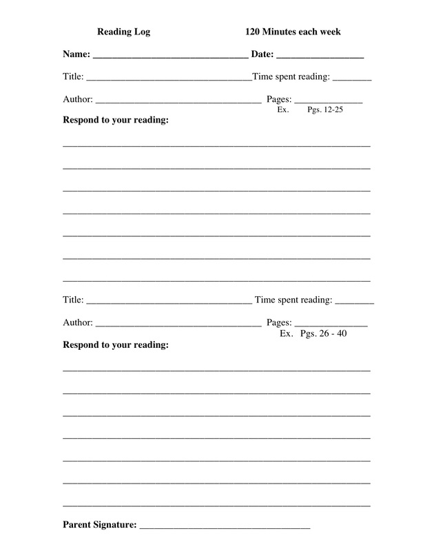Reading Log Template  Mrs WardS Classroom